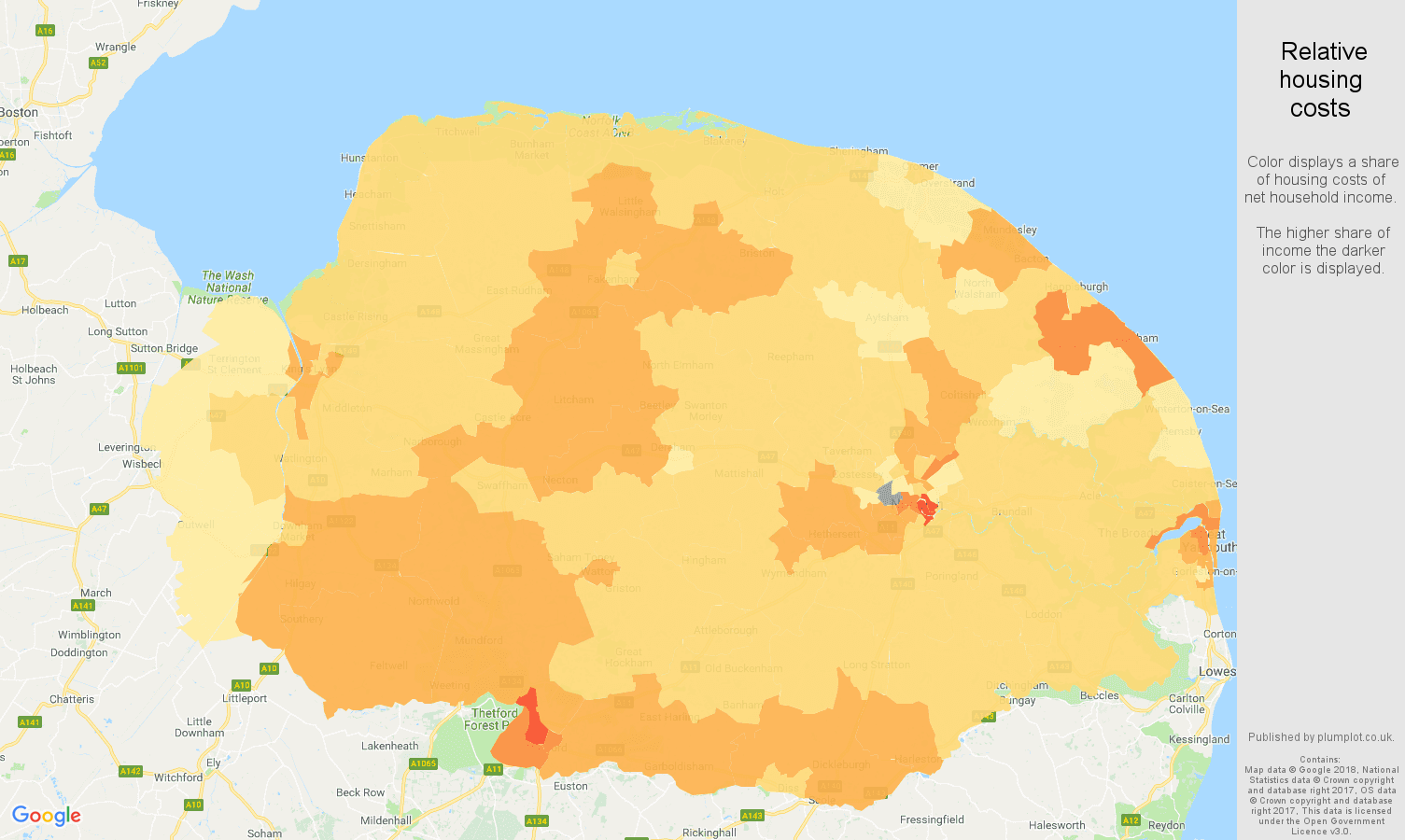 Norfolk relative housing costs map