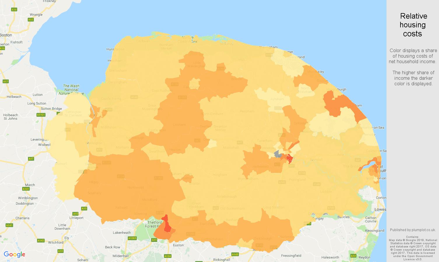 Norfolk relative housing costs map