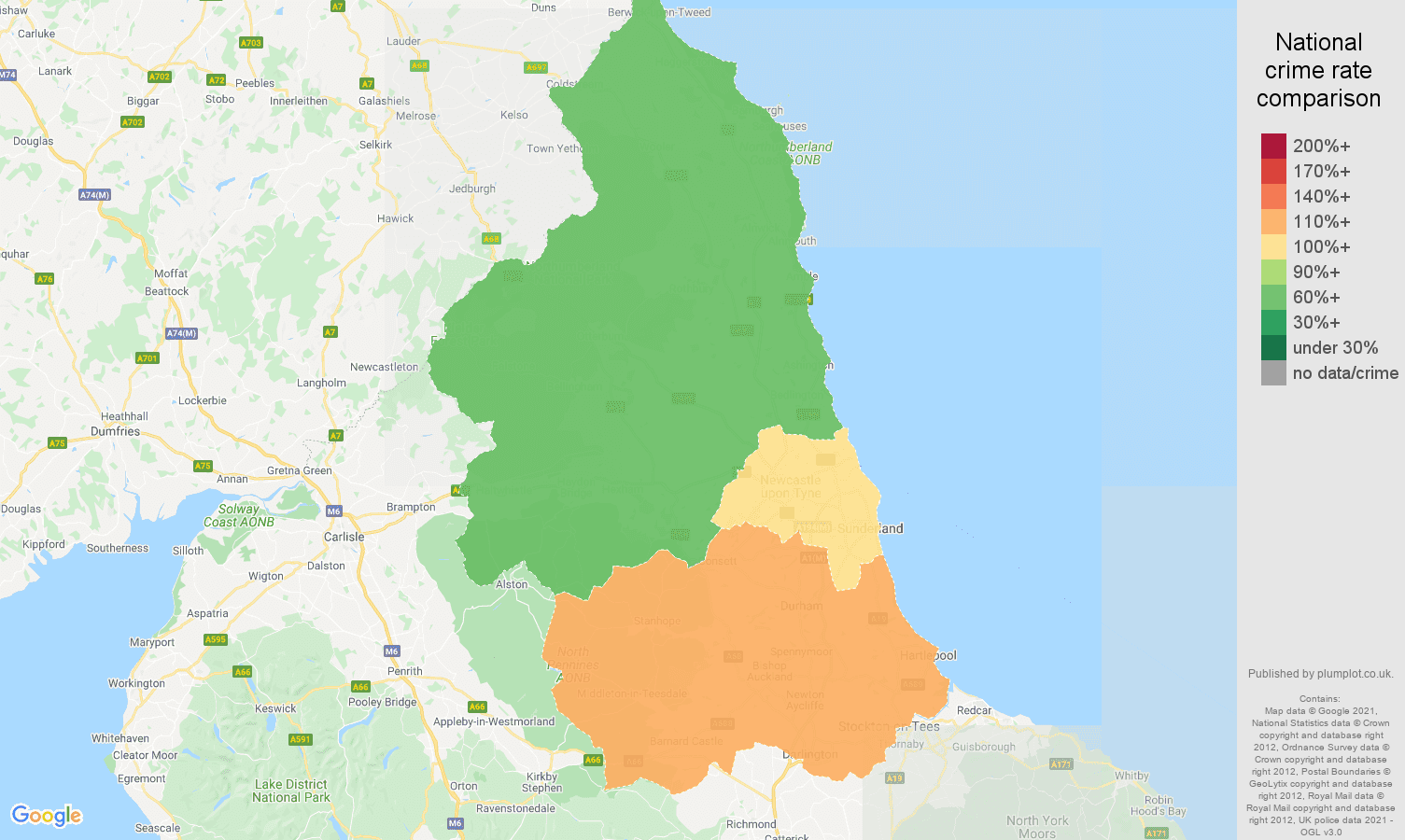 North East burglary crime rate comparison map