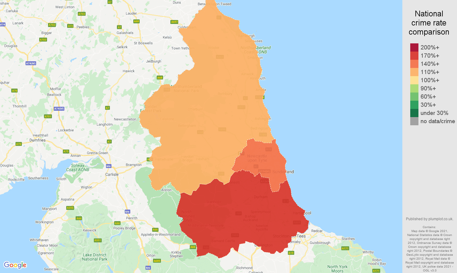 North East criminal damage and arson crime rate comparison map