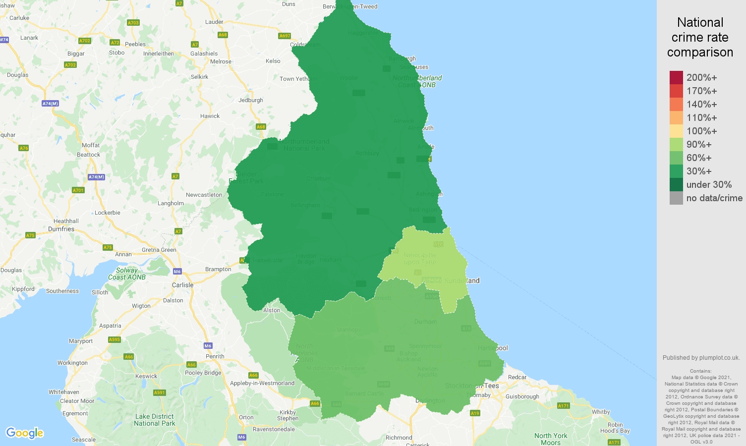 North East vehicle crime rate comparison map