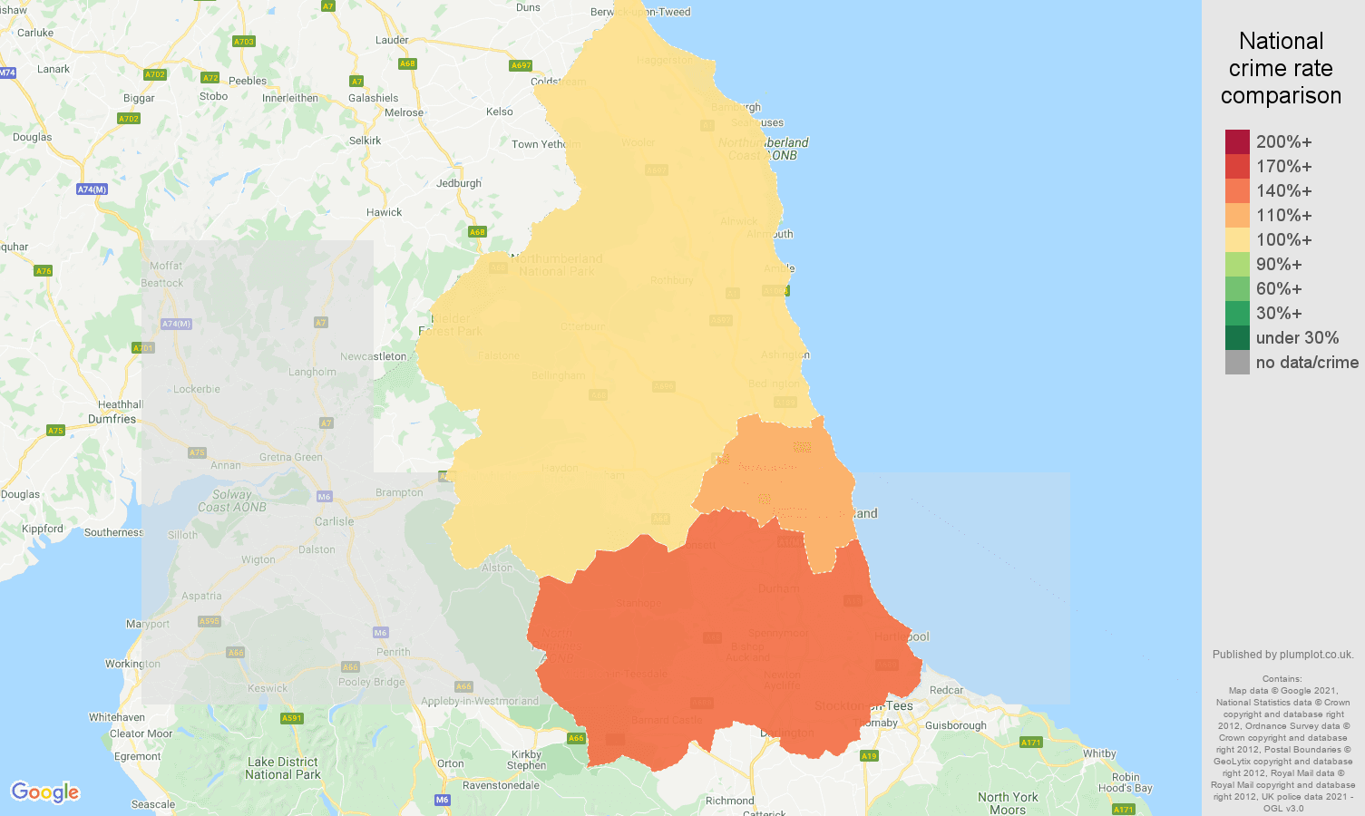 North East violent crime rate comparison map