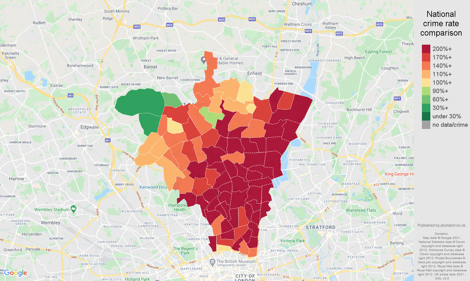 North London antisocial behaviour crime rate comparison map