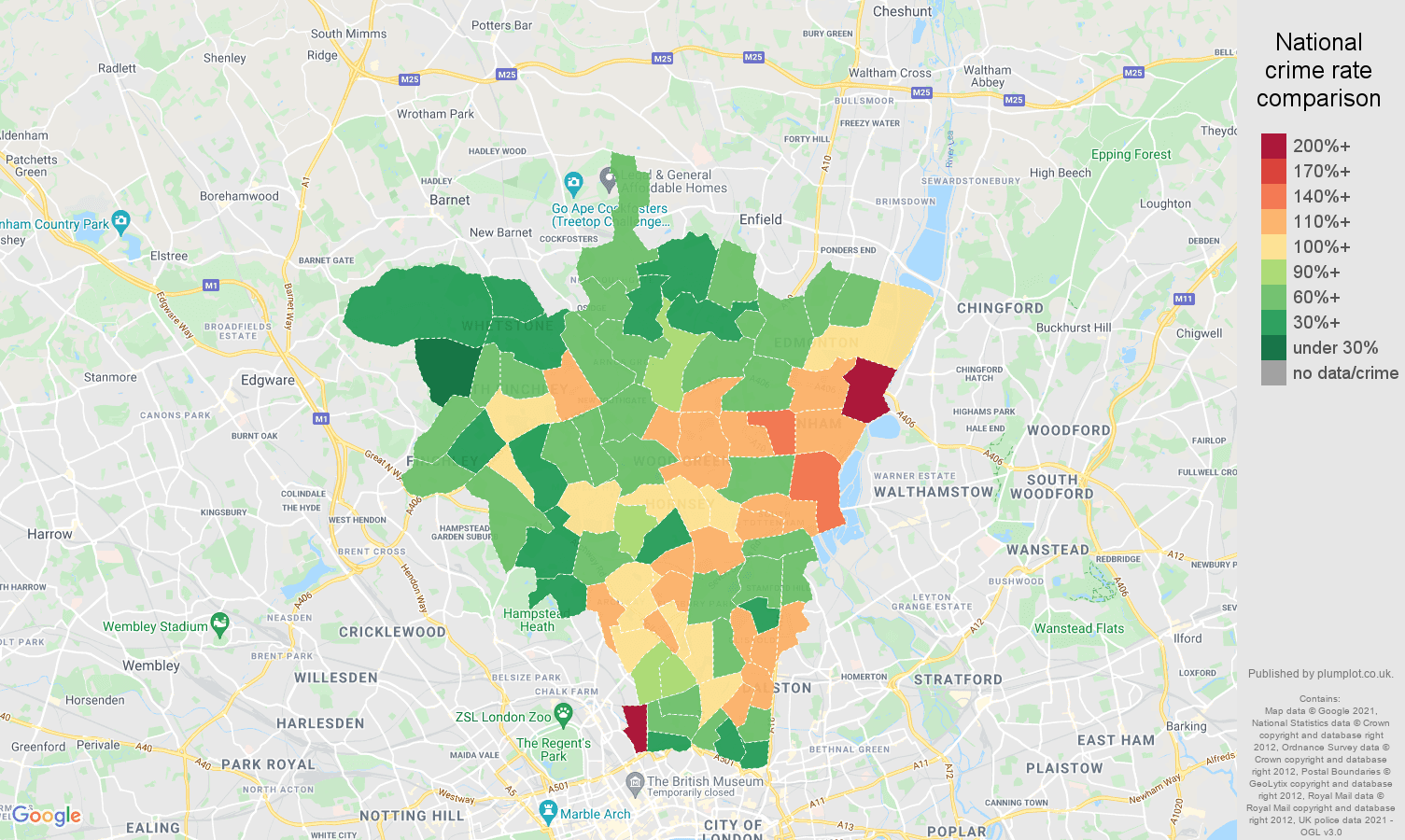 North London criminal damage and arson crime rate comparison map