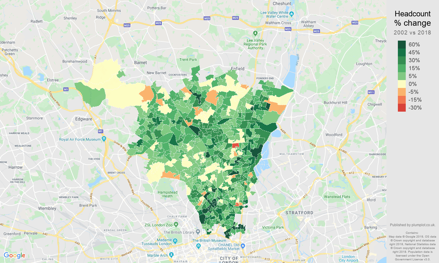 North London headcount change map
