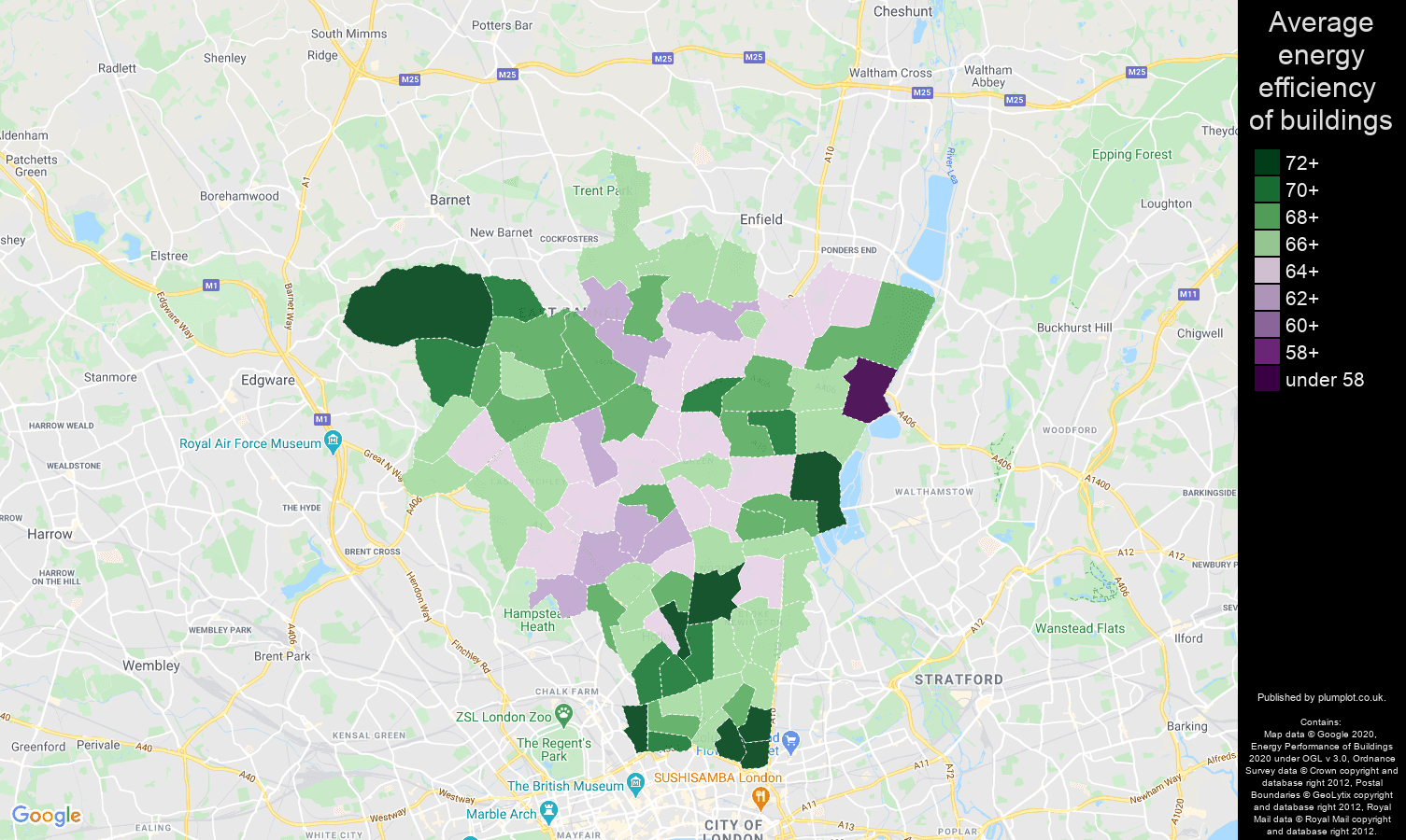North London map of energy efficiency of flats