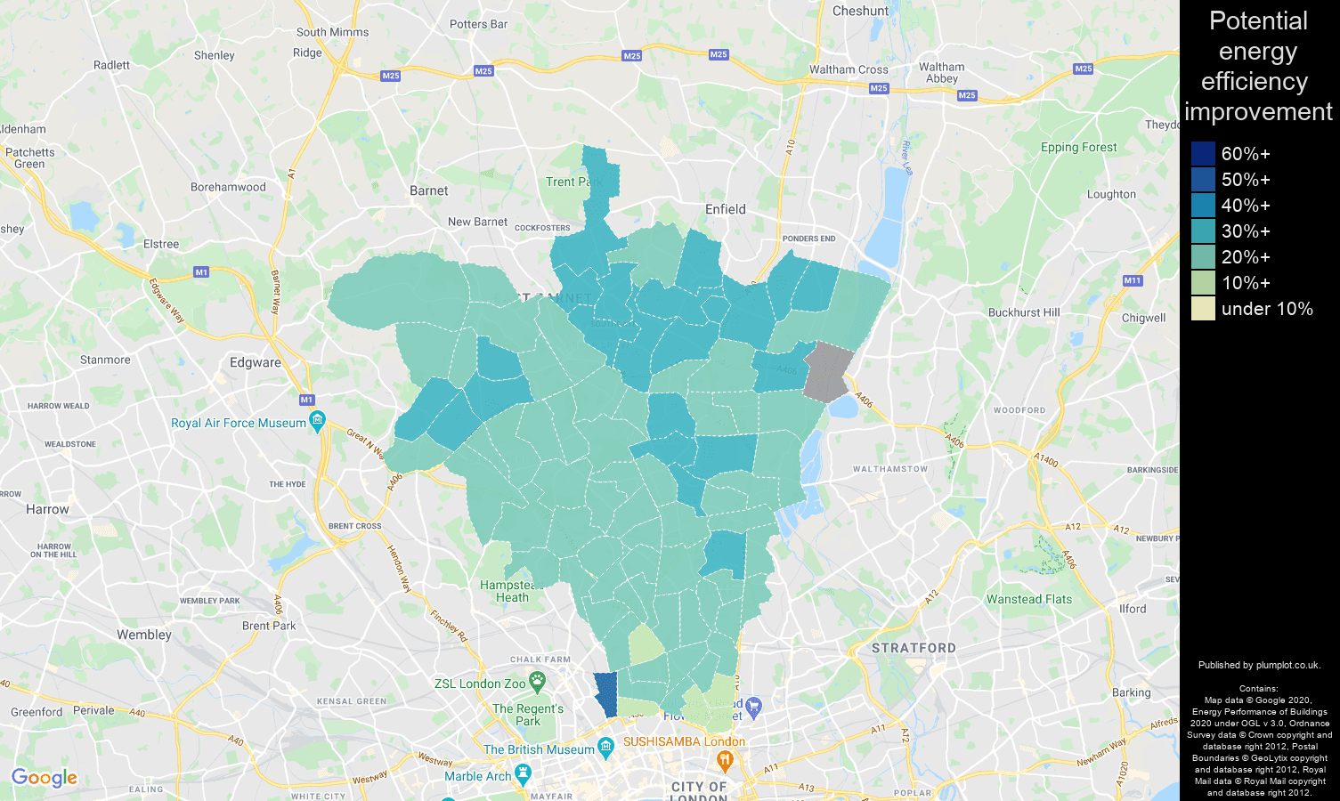 North London map of potential energy efficiency improvement of houses