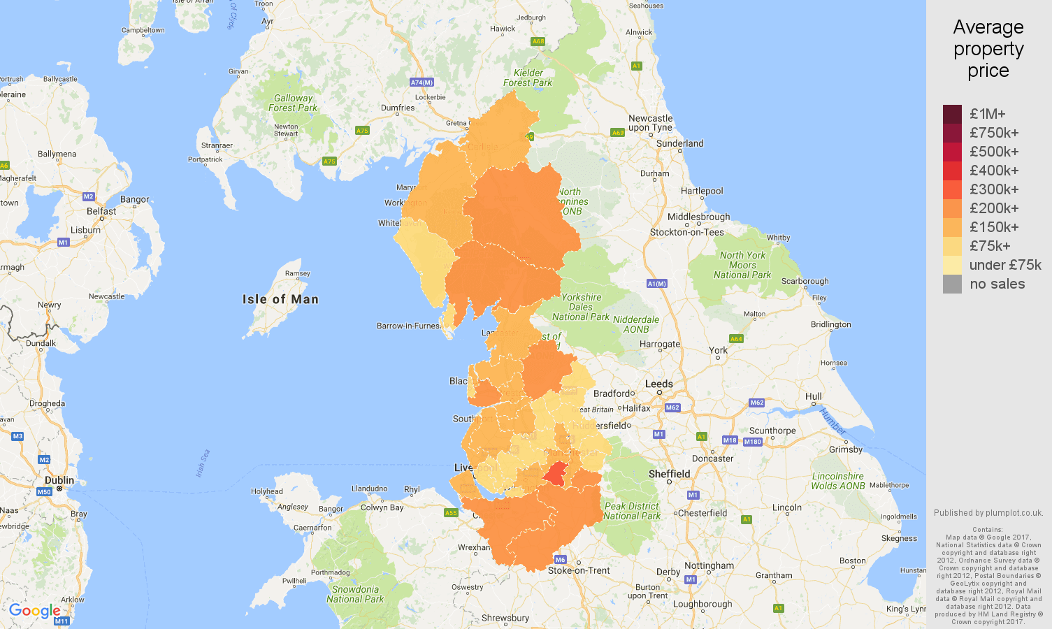 North Of England Map.North West England House Prices In Maps And Graphs