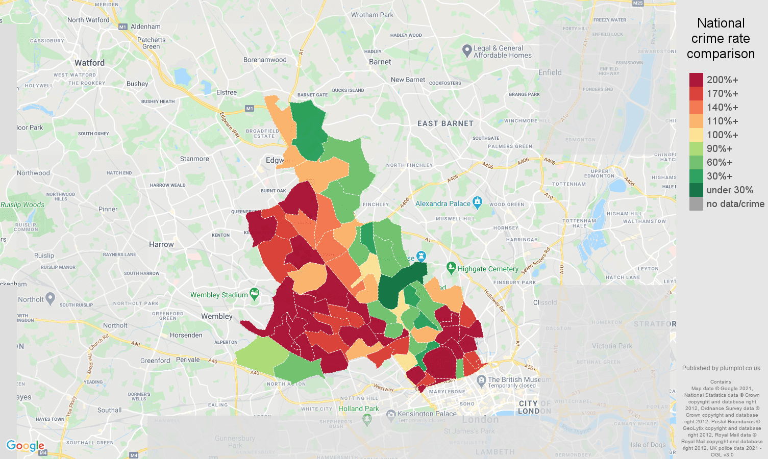 North West London drugs crime rate comparison map