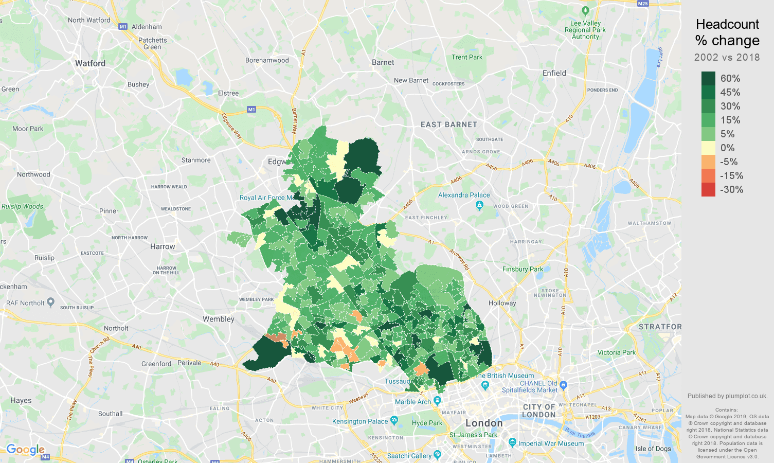 Map North West London.North West London Population Growth Rates