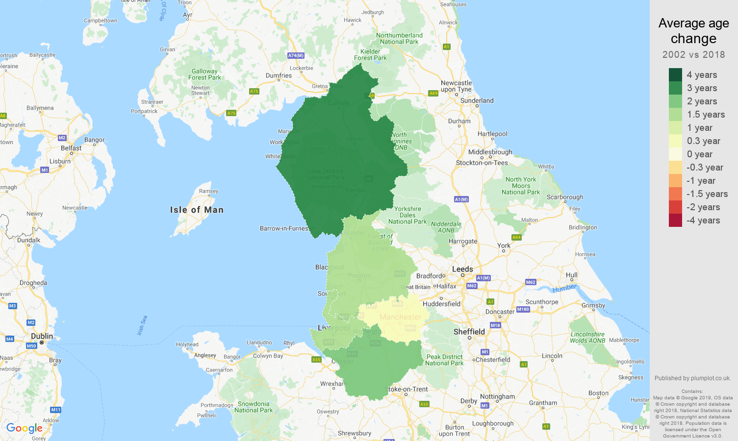 North West average age change map