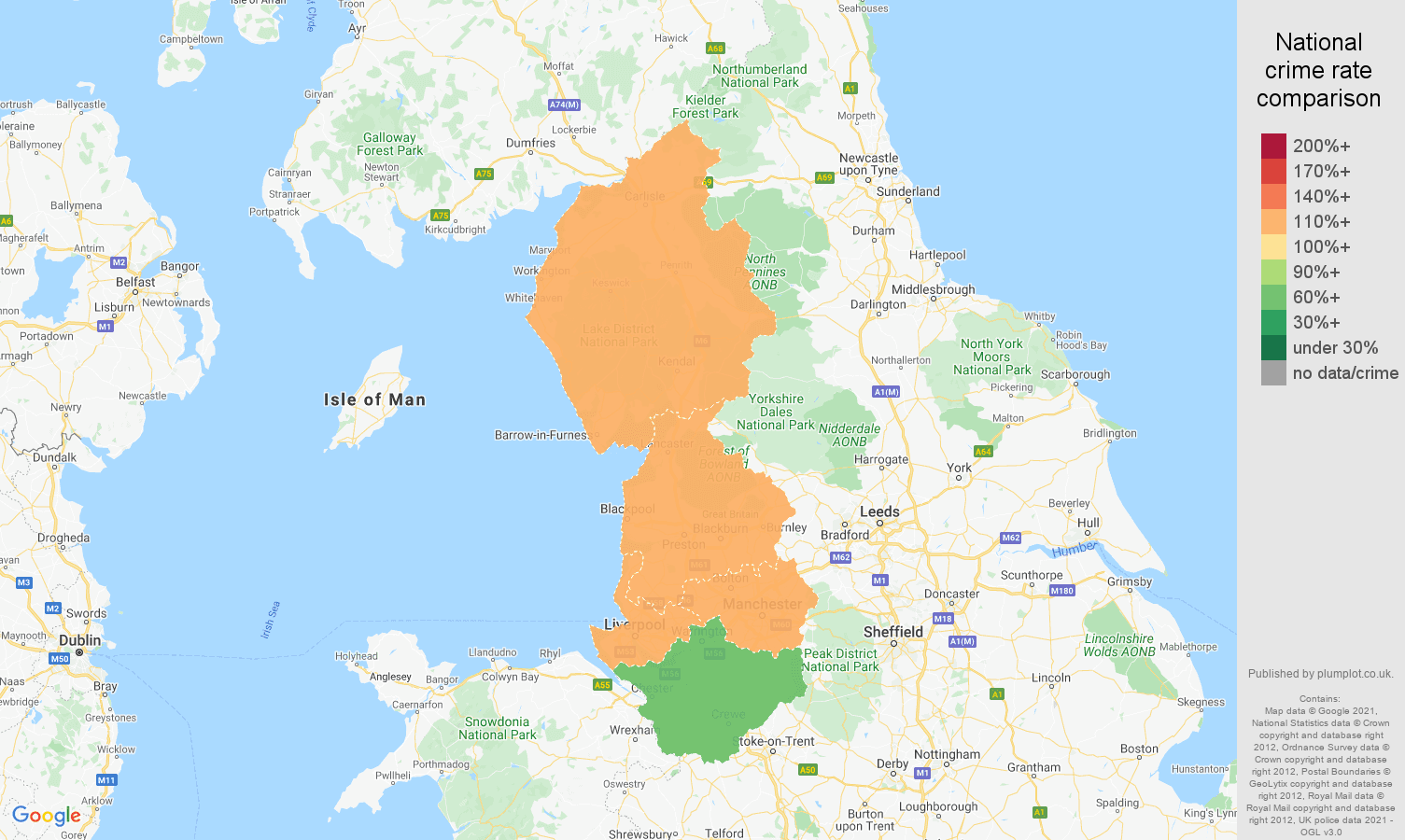 North West criminal damage and arson crime rate comparison map