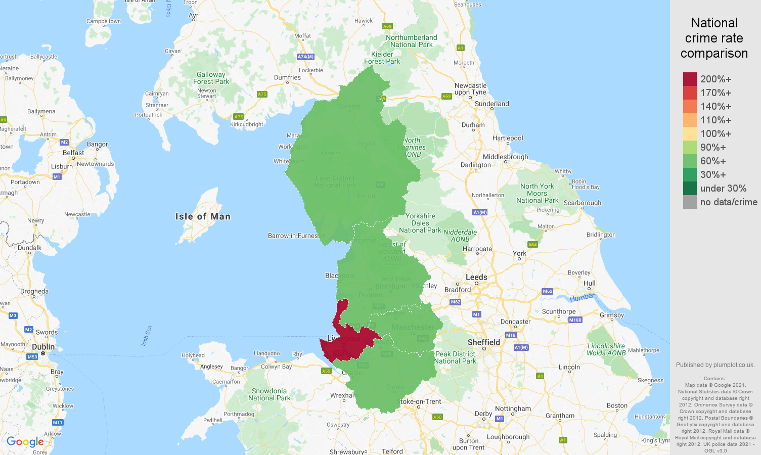 North West drugs crime rate comparison map