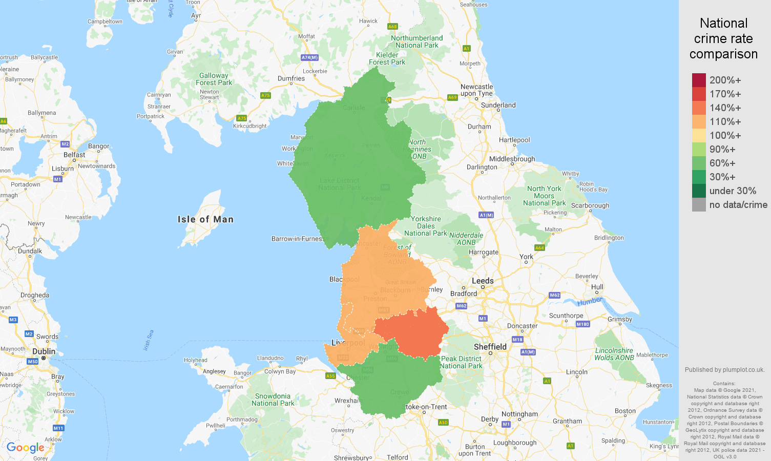 North West other crime rate comparison map