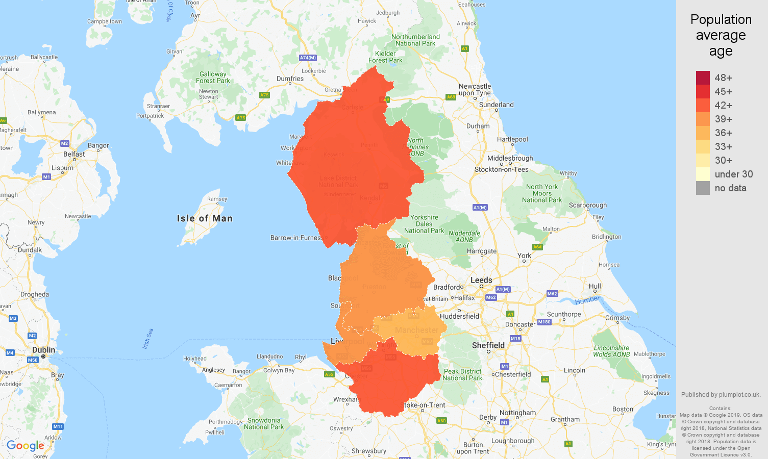 North West population average age map