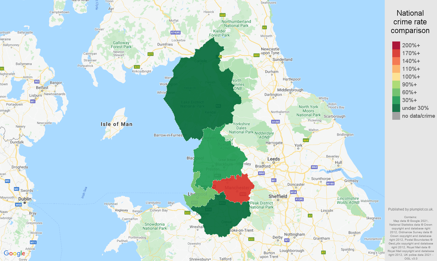 North West robbery crime rate comparison map