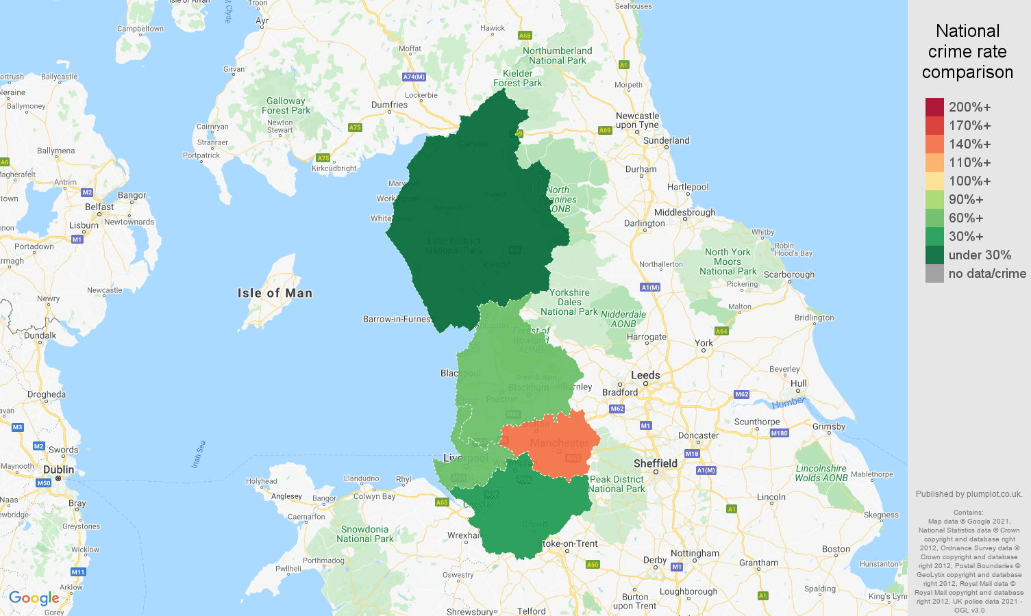 North West theft from the person crime rate comparison map