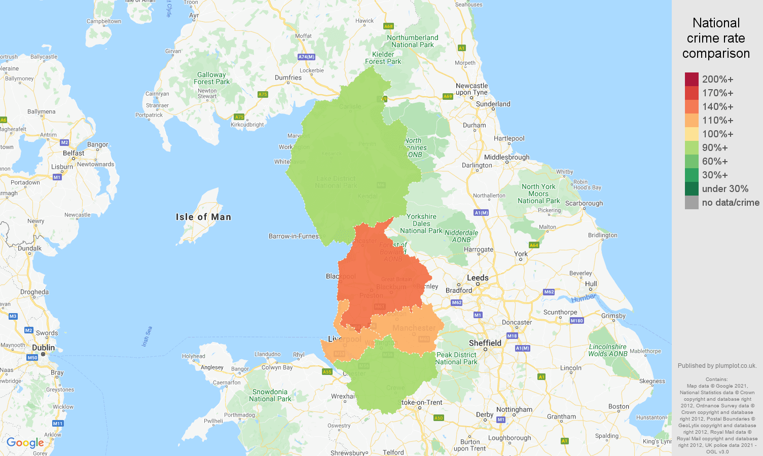 North West violent crime rate comparison map