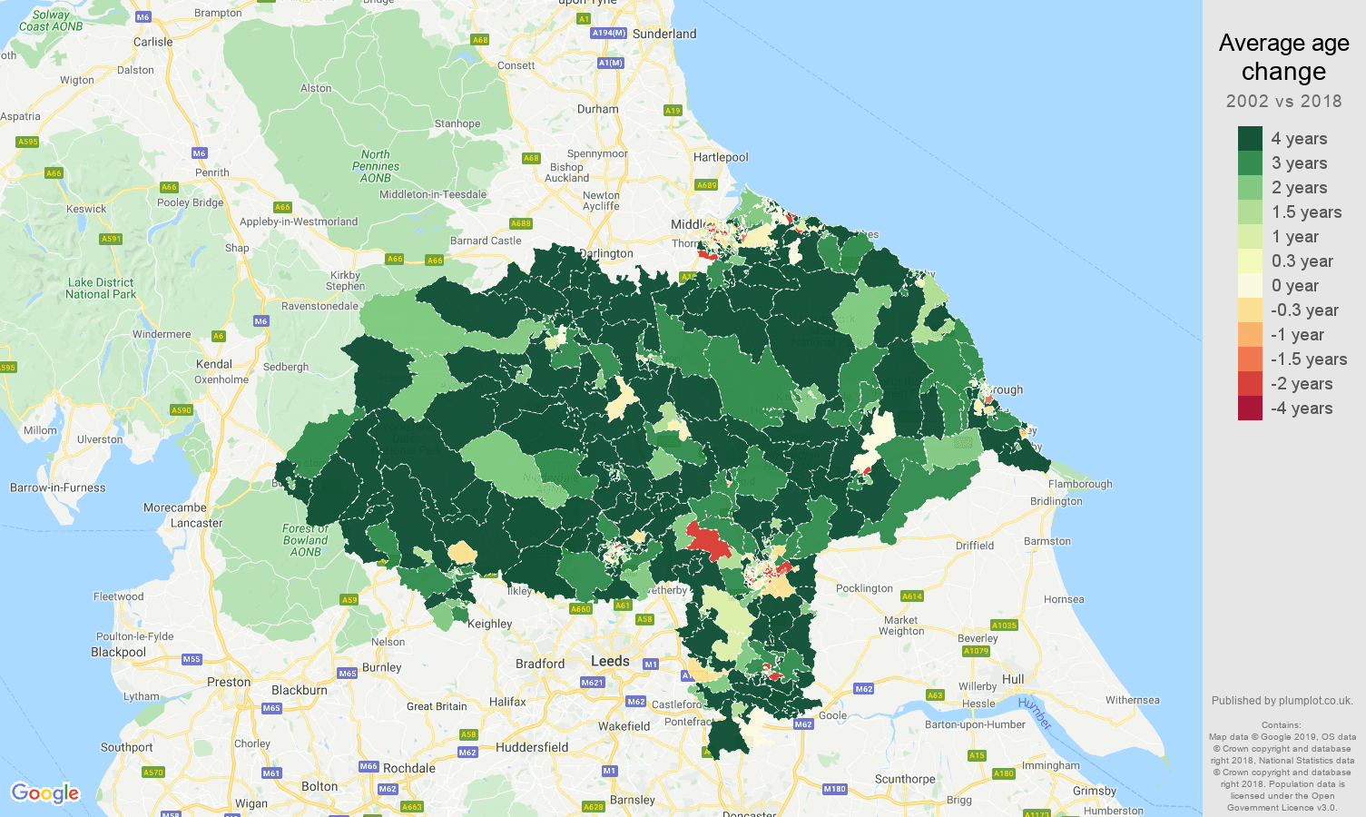 North Yorkshire average age change map