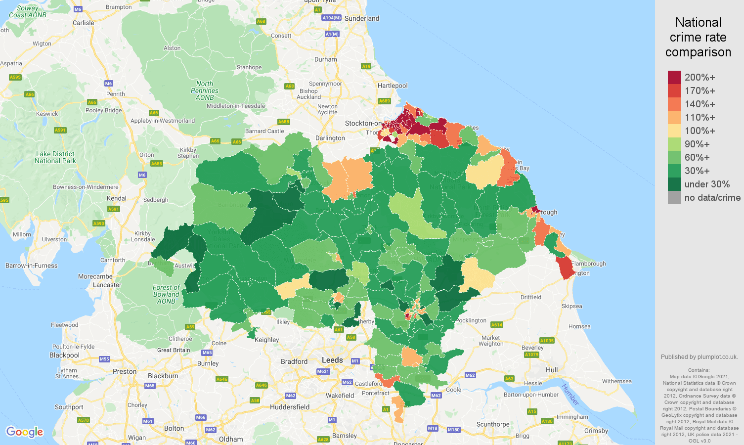 North Yorkshire criminal damage and arson crime rate comparison map