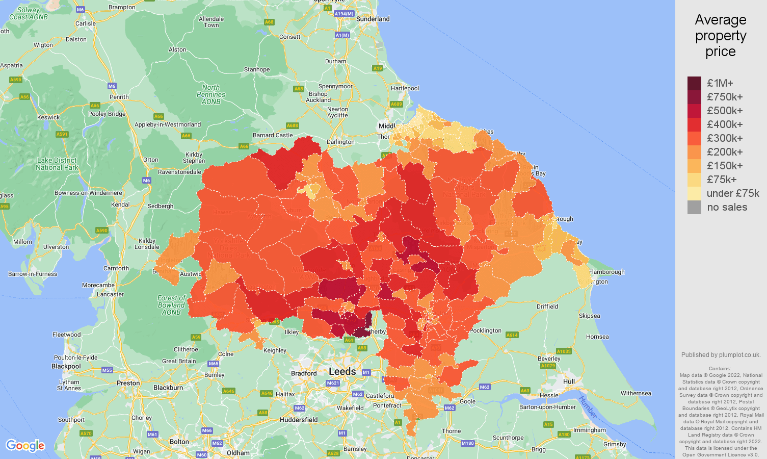 North Yorkshire house prices map