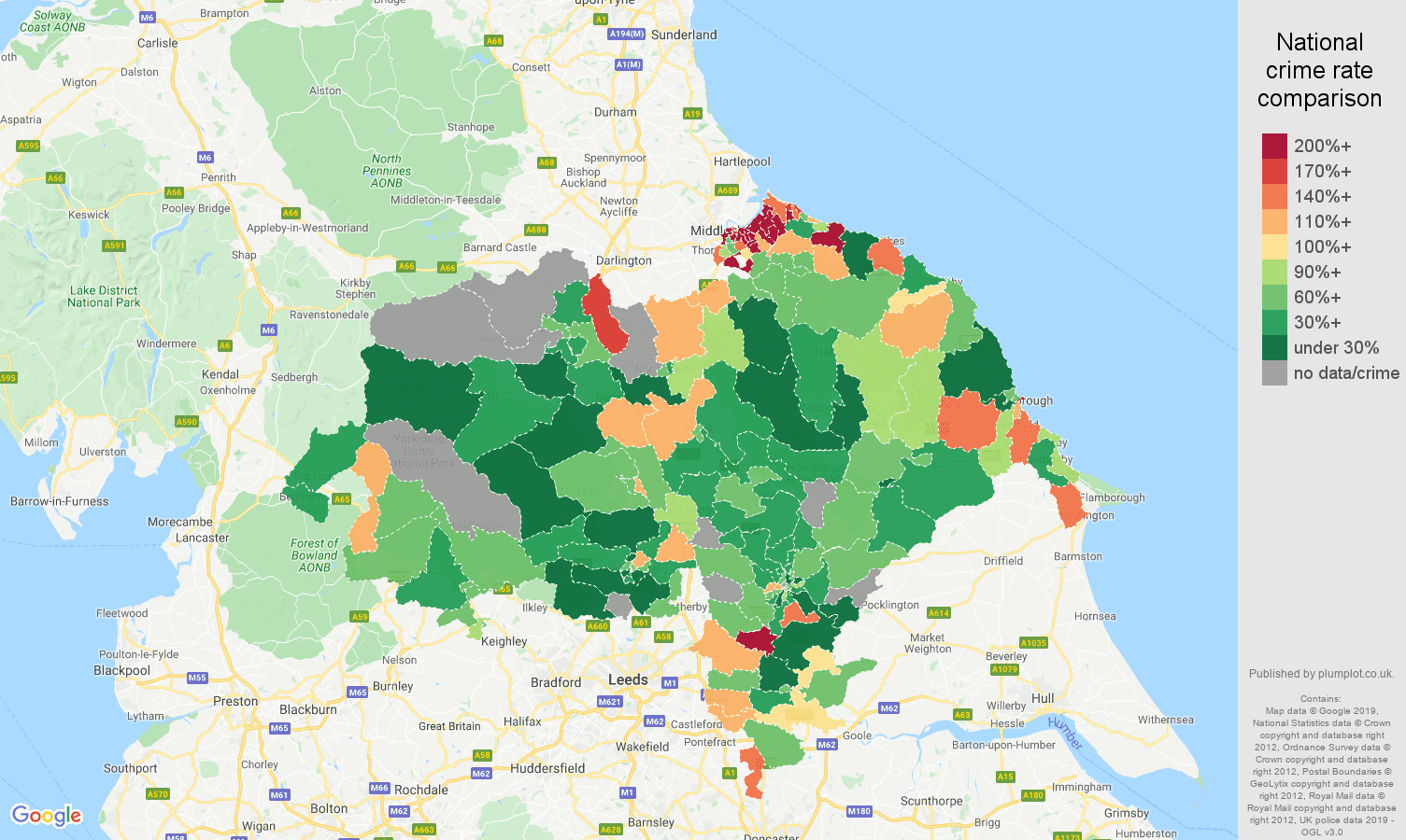 North Yorkshire other crime rate comparison map