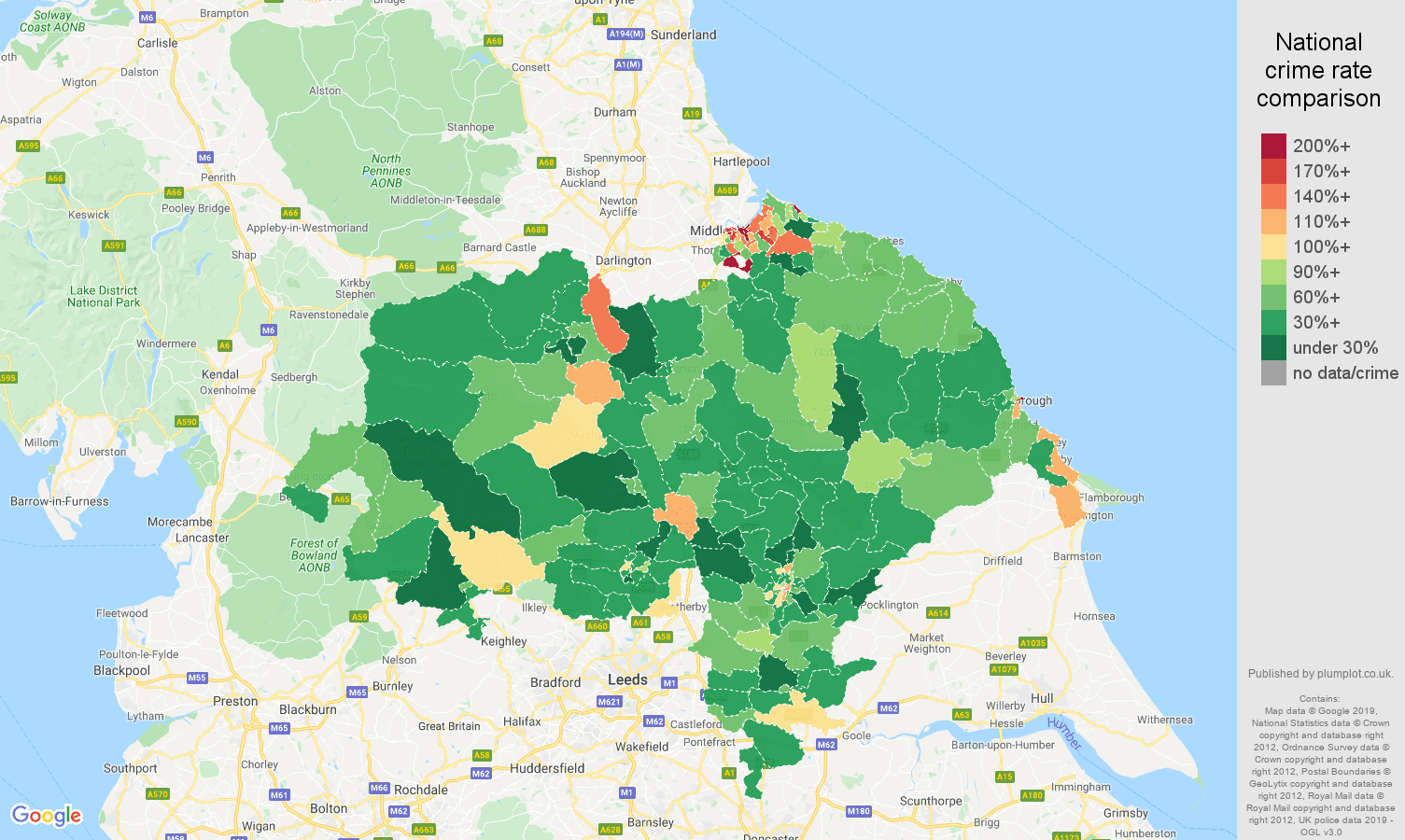 North Yorkshire other theft crime rate comparison map