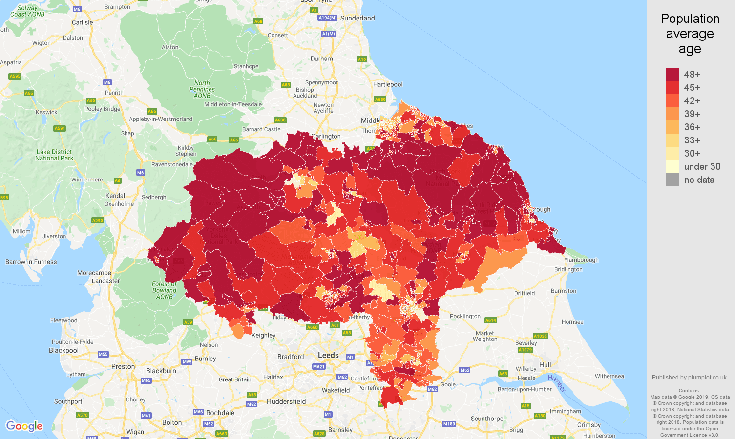 North Yorkshire population average age map
