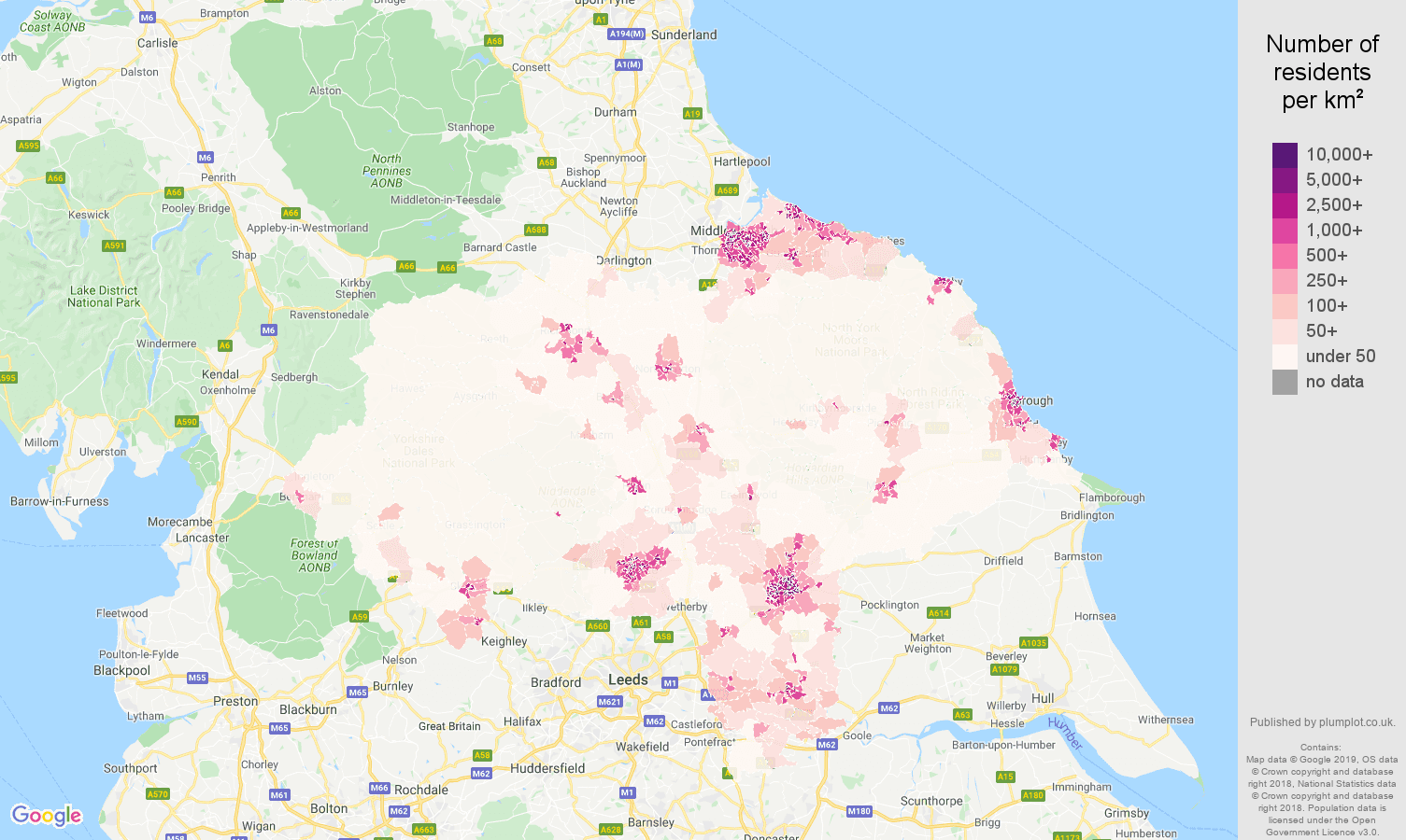 North Yorkshire population density map