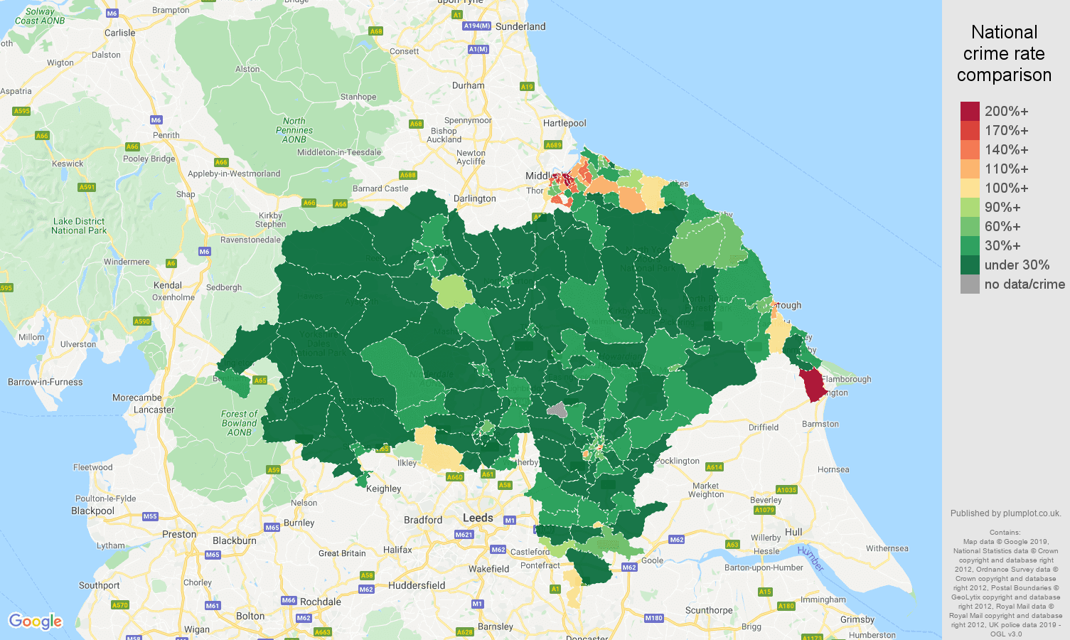 North Yorkshire public order crime rate comparison map