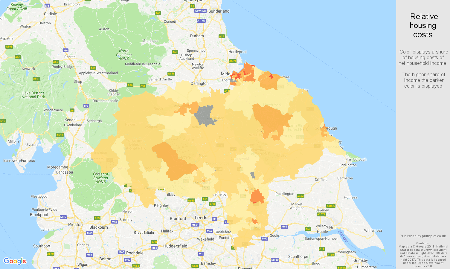 North Yorkshire relative housing costs map