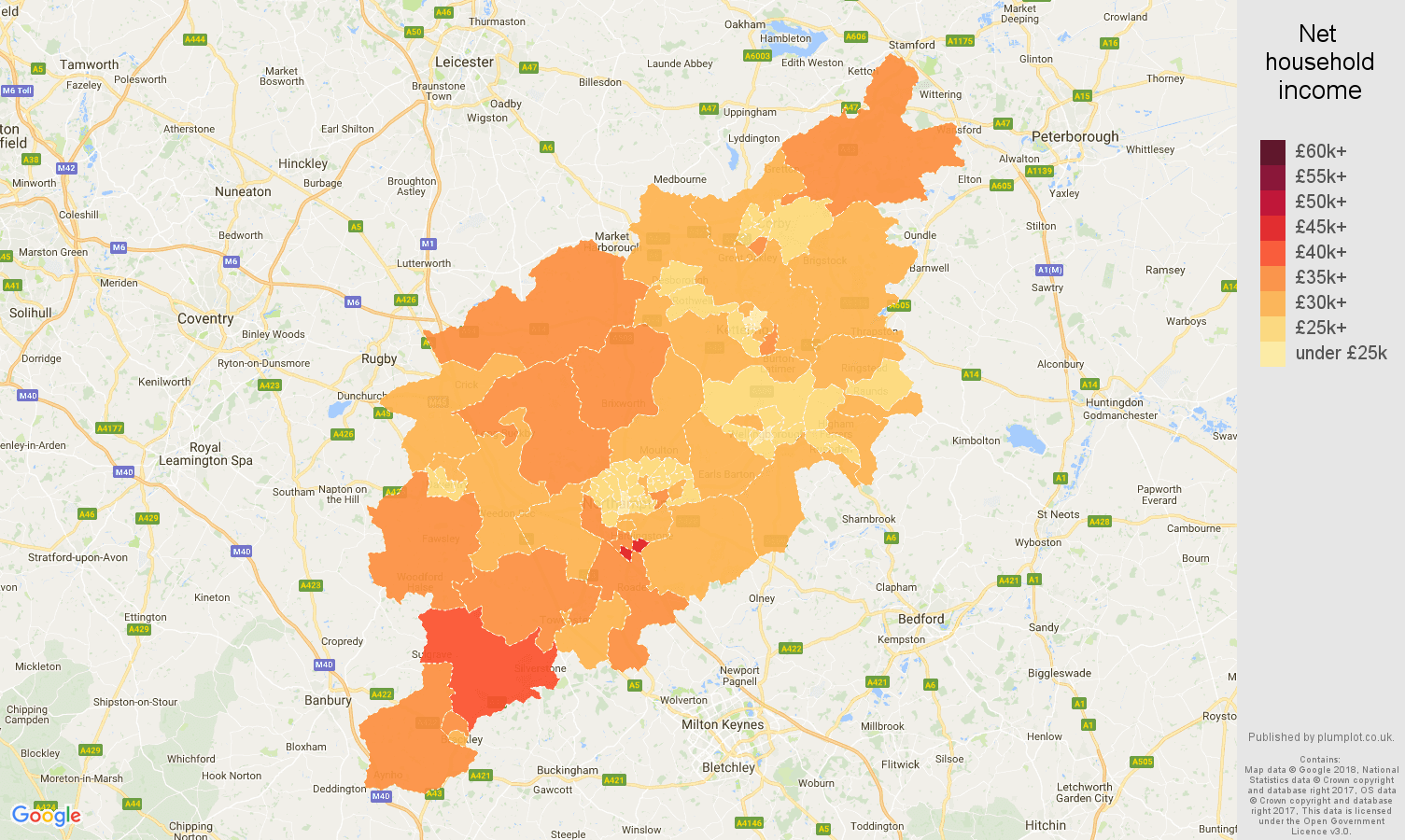 Northampton net household income map