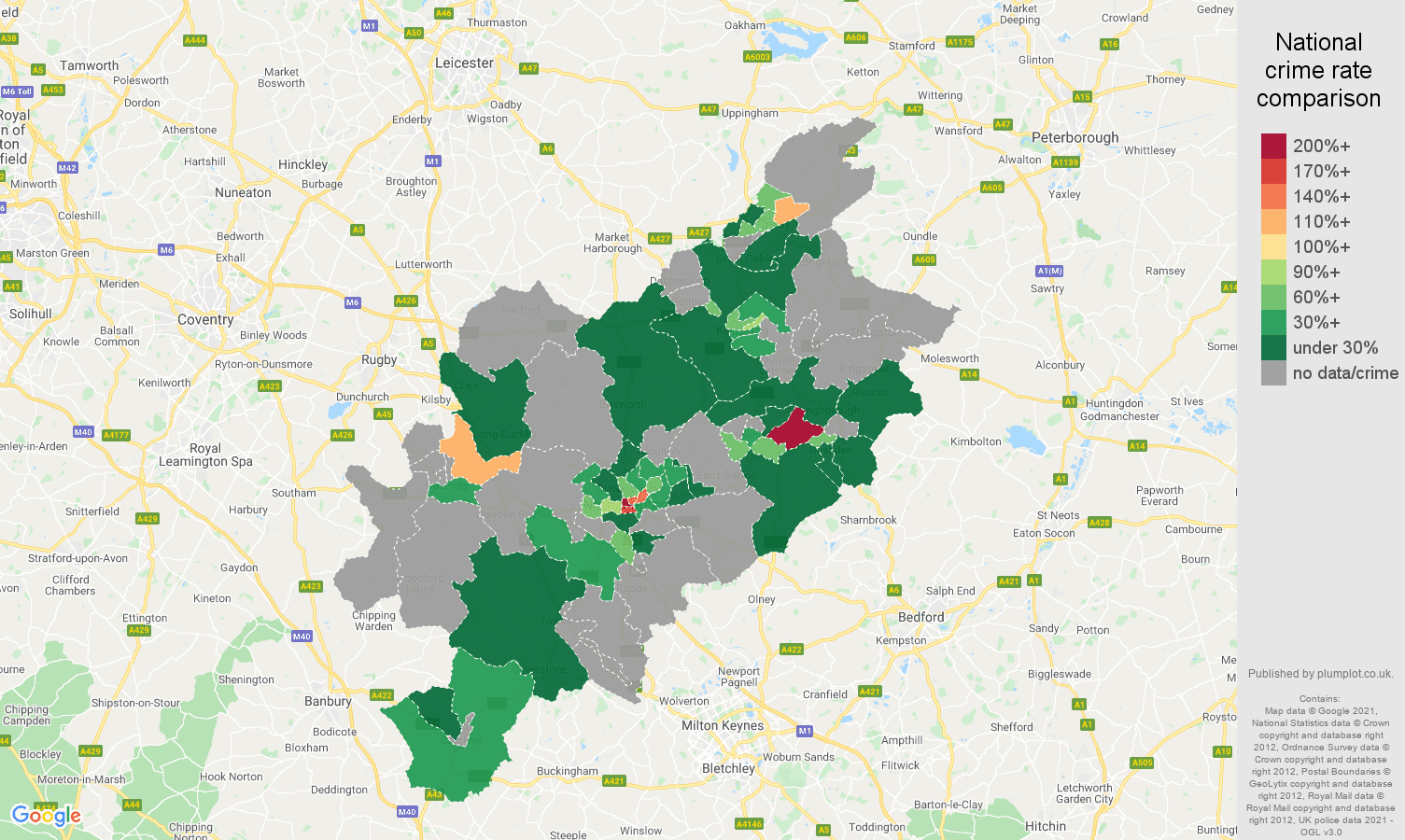 Northampton theft from the person crime rate comparison map
