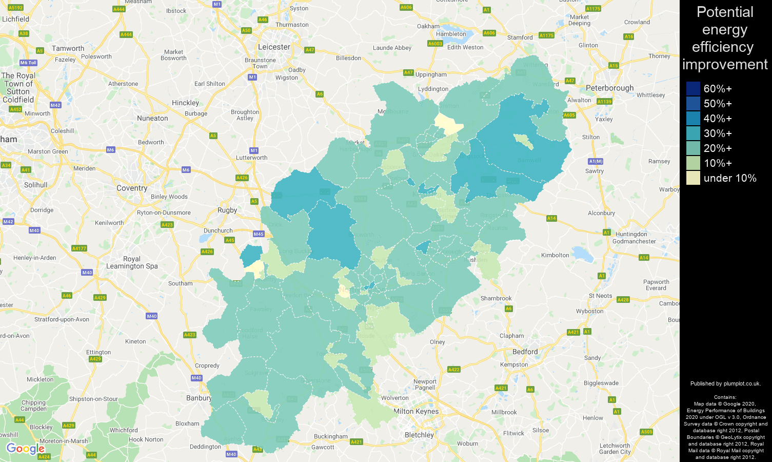 Northamptonshire map of potential energy efficiency improvement of houses