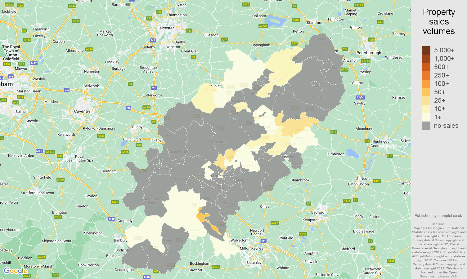 Northamptonshire map of sales of new properties
