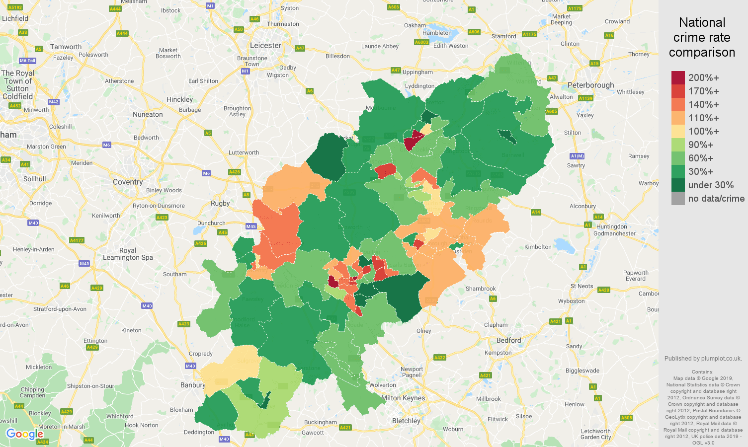 Northamptonshire other crime rate comparison map