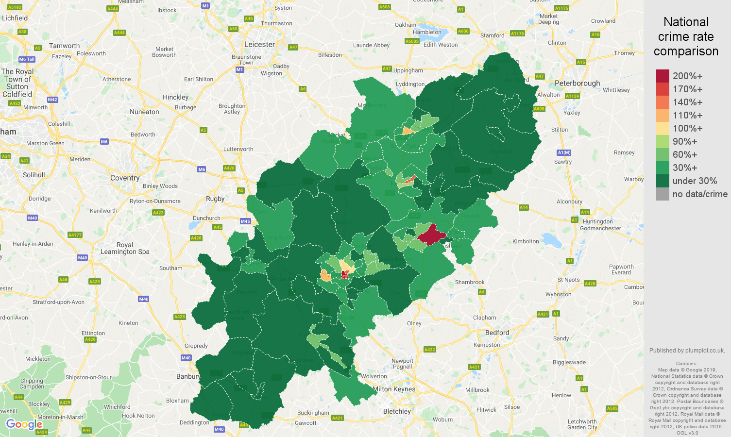 Northamptonshire public order crime rate comparison map