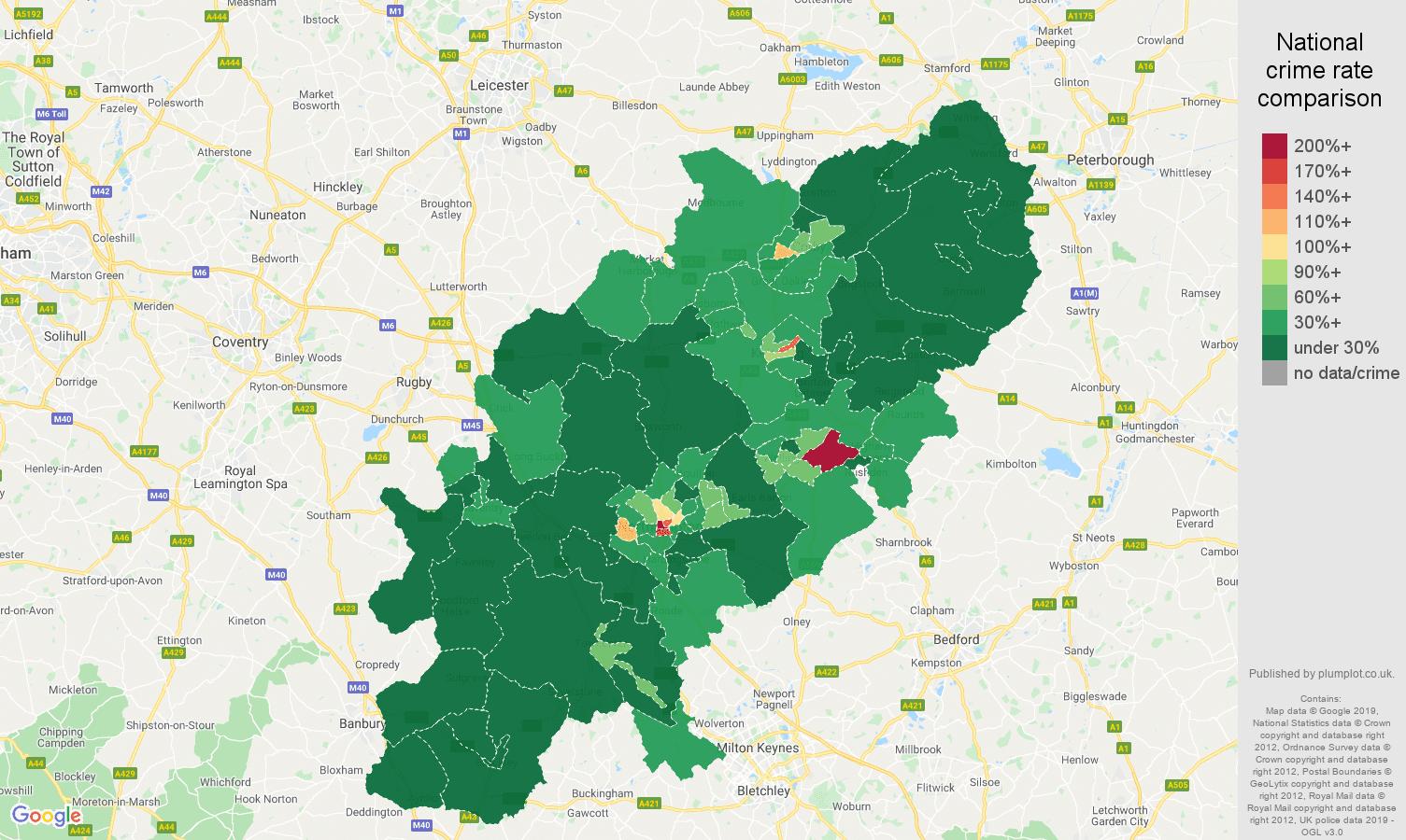 Northamptonshire public order crime rate comparison map