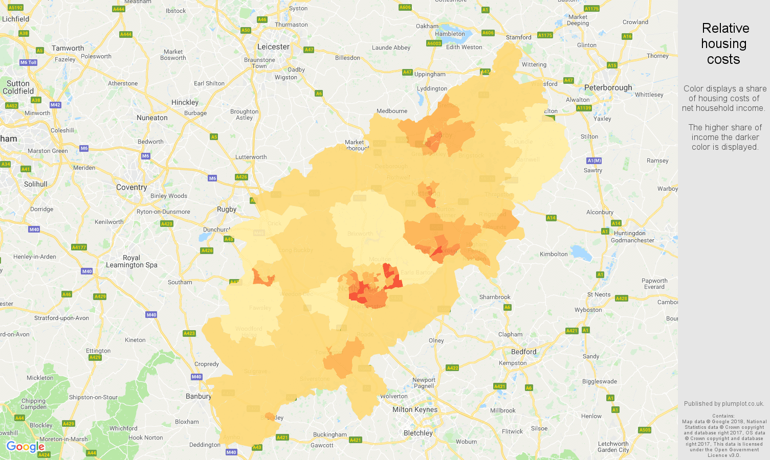 Northamptonshire relative housing costs map