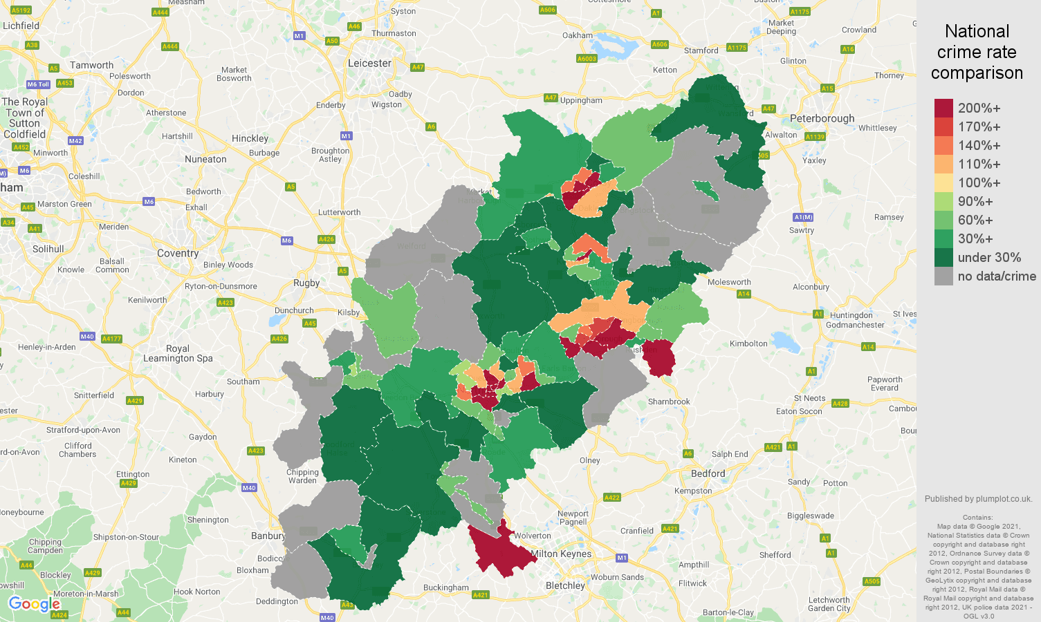 Northamptonshire robbery crime rate comparison map