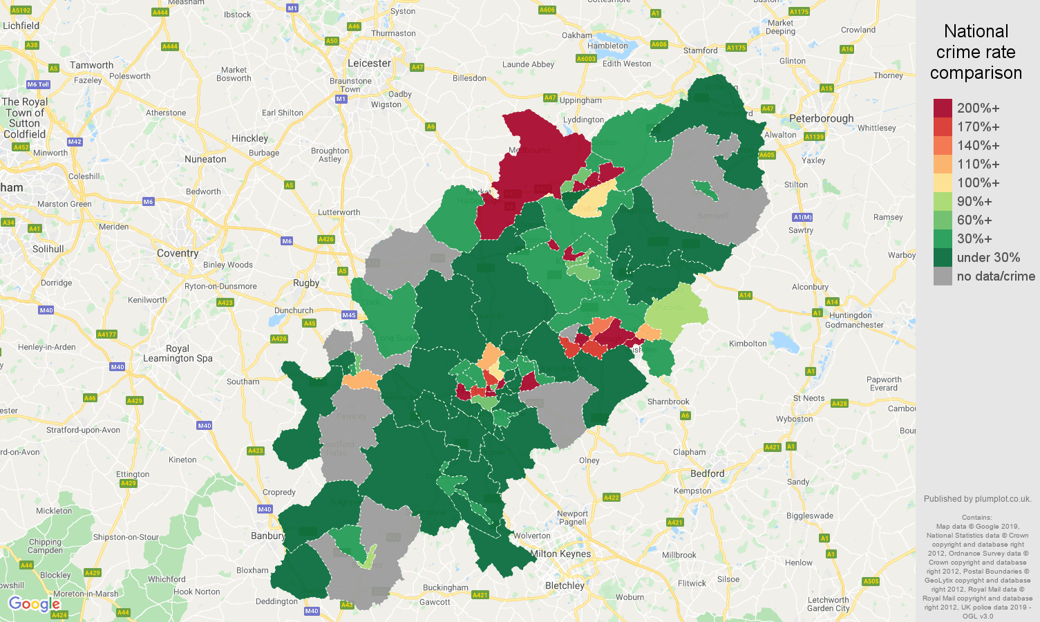 Northamptonshire shoplifting crime rate comparison map