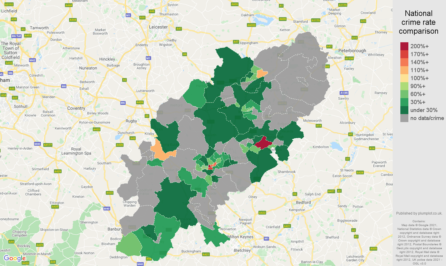 Northamptonshire theft from the person crime rate comparison map