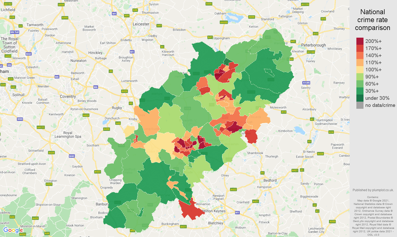 Northamptonshire violent crime rate comparison map