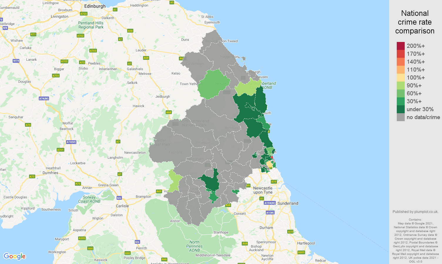 Northumberland bicycle theft crime rate comparison map