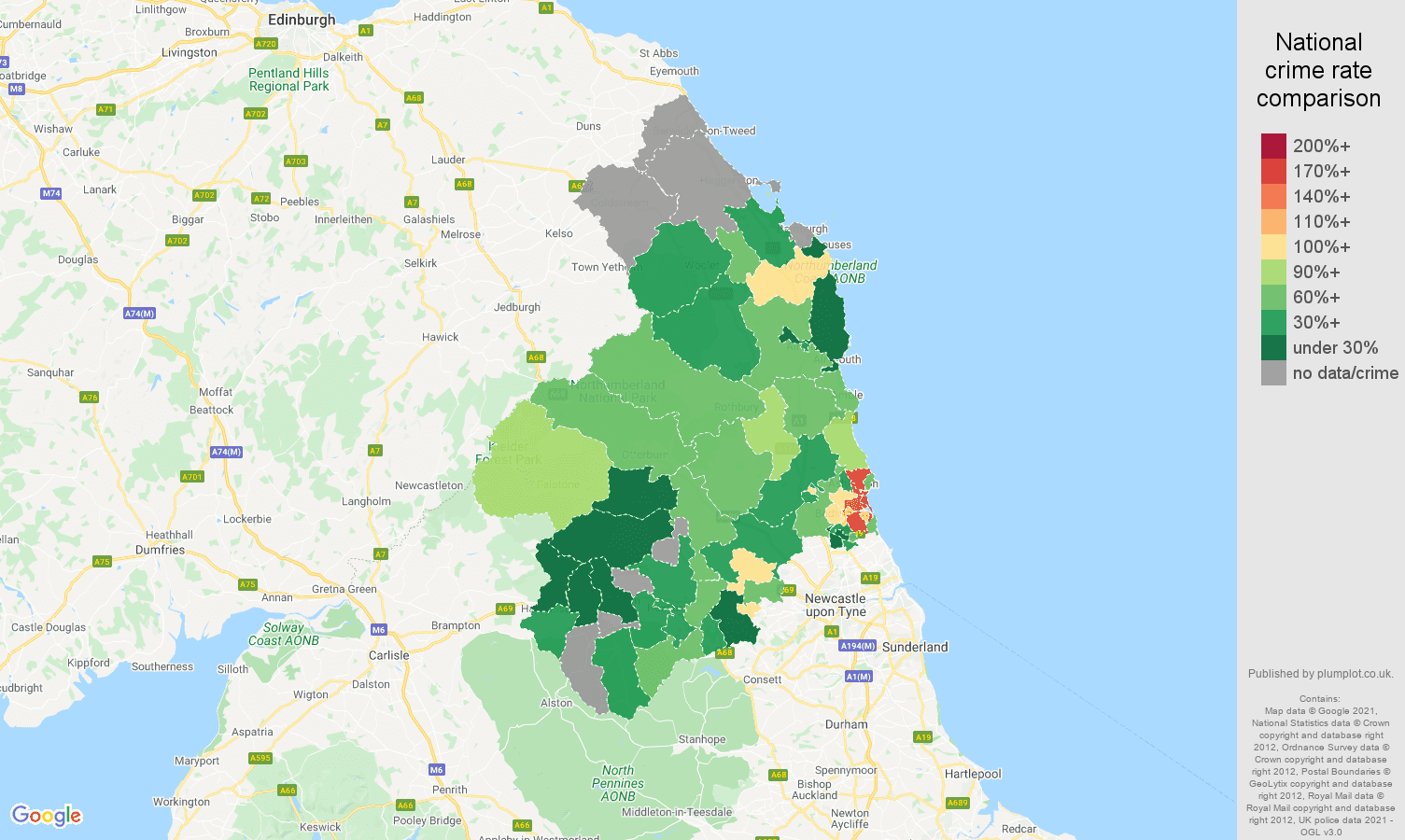 Northumberland burglary crime rate comparison map