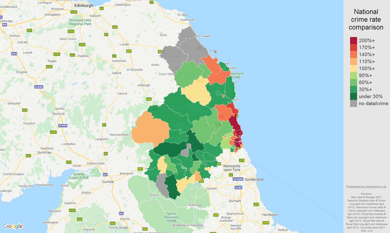 Northumberland criminal damage and arson crime rate comparison map