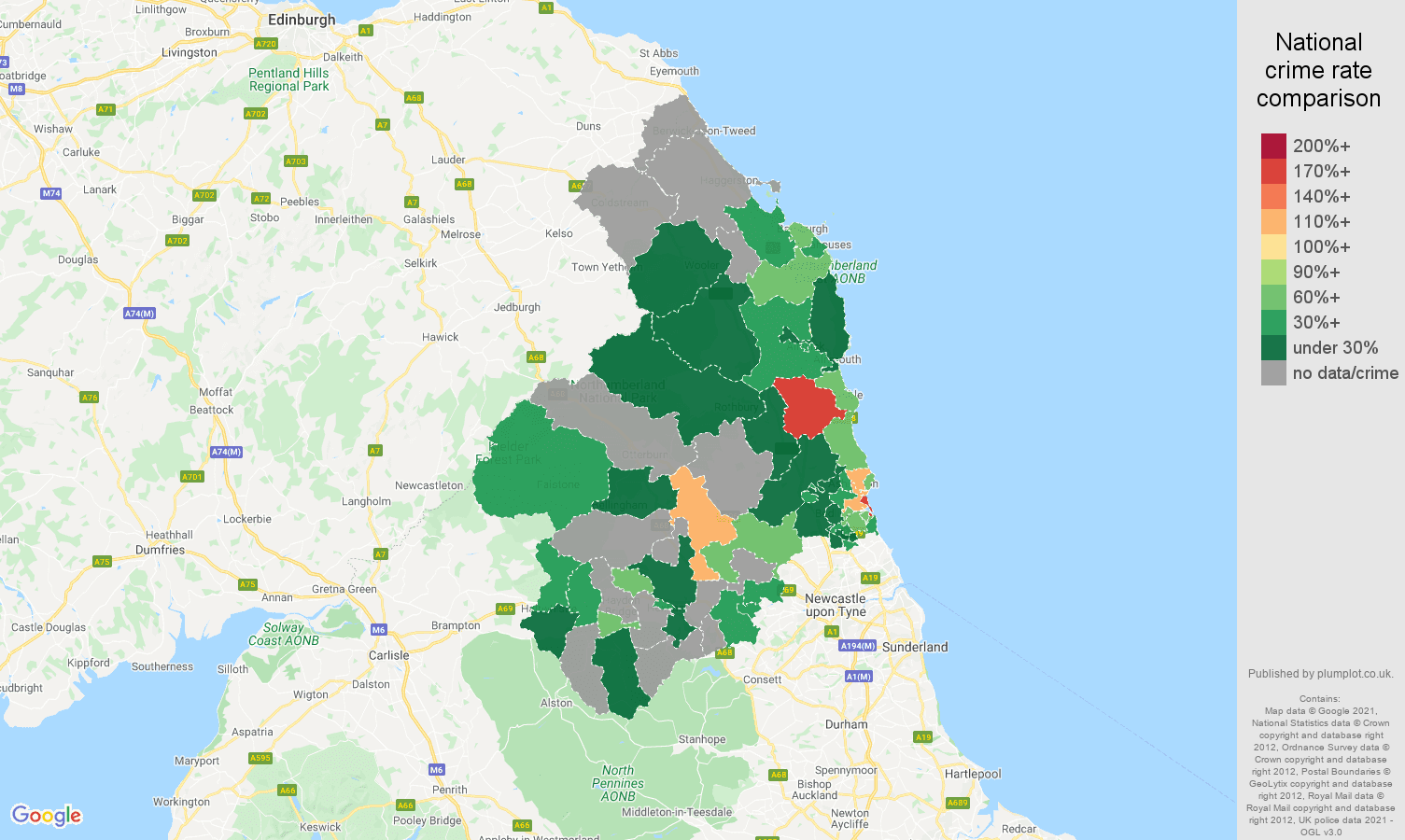 Northumberland drugs crime rate comparison map