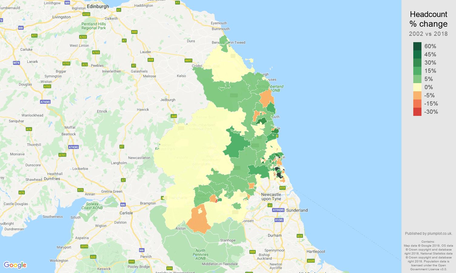 Northumberland headcount change map