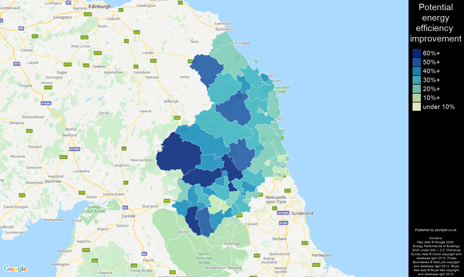 Northumberland map of potential energy efficiency improvement of properties