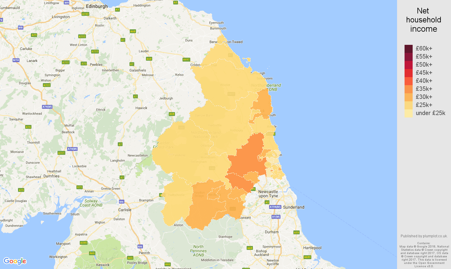 Northumberland net household income map